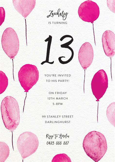 13th Birthday Invitations   Designs By Creatives   Printed