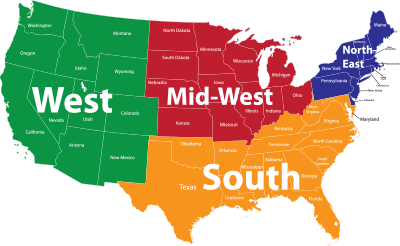Us Map 4 Regions - Map-of-us-states-by-region