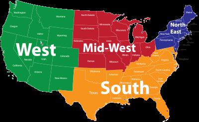 Us Map 4 Regions