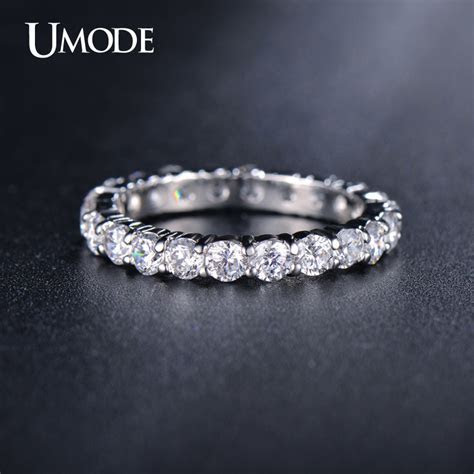 UMODE Newest White Gold Plated 3mm 0.1 Carat Round CZ
