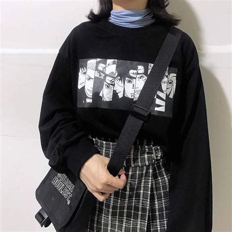 naruto anime patch black oversized sweatshirt