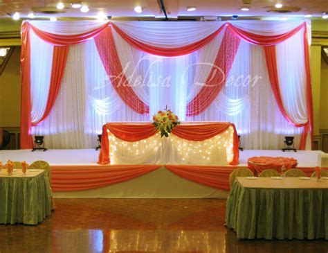 Coral & White Draped Backdrop, Lighting & Sweetheart Table