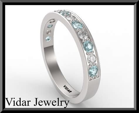 Womens Light Blue Aquamarine And Diamond Wedding band.half