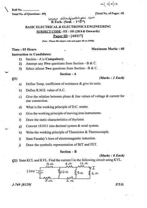 PTU B.Tech I Year-Basic Electrical and Electronics
