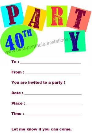 Printable 40th Birthday Party Invitations Free - Wedding ...