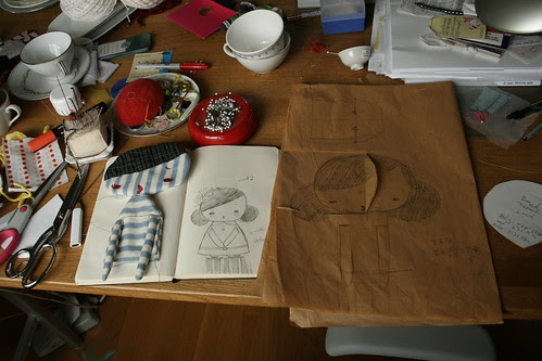 At the drawing table