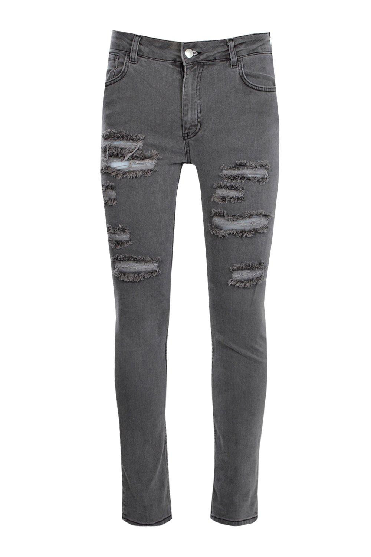 boohoo mens skinny fit light grey multi ripped jean  ebay