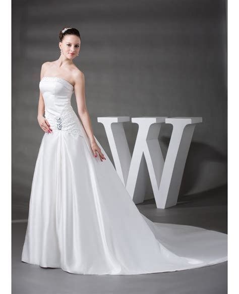 Strapless Beaded Satin Wedding Dress with Train #OPH1218