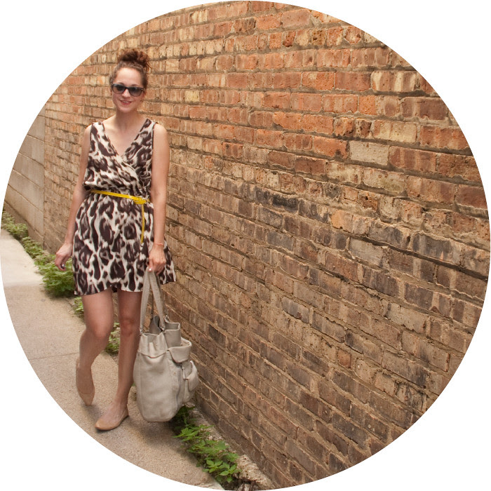 dash dot dotty, leopard print wrap dress, soprano dress, summer dress, yellow belt, old navy pointy flats
