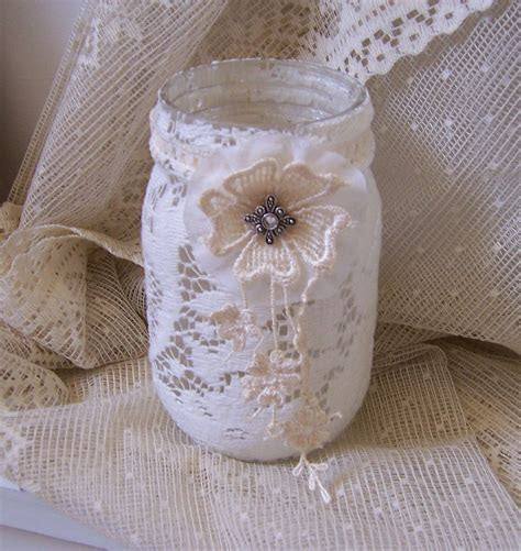 Mason jar with flameless candle french country decorating