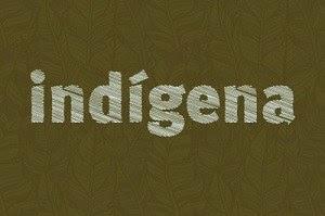 """Arte retangular com fundo verde musgo, que traz desenhos de folhas em traços, e a palavra """"Indígena"""" escrita em branco, com grafismos."""