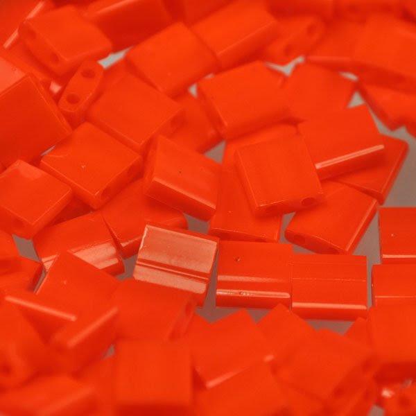 TL0406 Miyuki TILA - 2 Hole Japanese Flat Square - Miami Orange