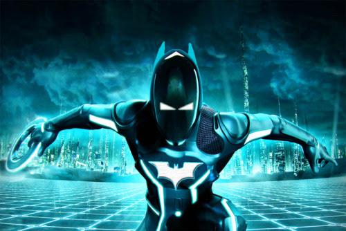 latanieredecyberwolf:  Crossover futuriste de Batman dans l'univers de Tron! Batman in Tron by ~IGMAN51