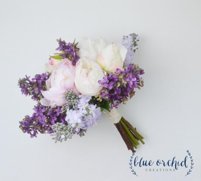 Wedding Bouquet  Lilac Bouquet, Peony Bouquet, Lavender, Silk Flowers, Silk Flower Bouquet