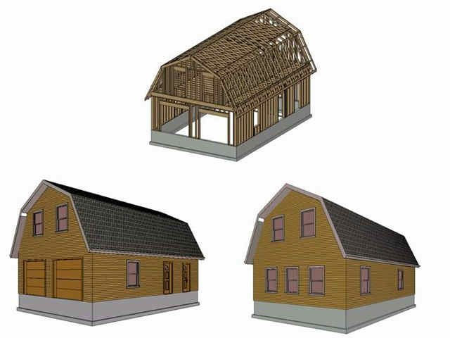 Bobbs pole barn plans gambrel roof for Gambrel pole barn plans