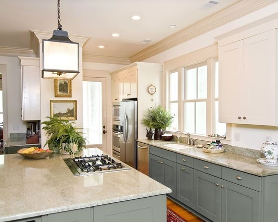 Trending - Dark Lower Kitchen Cabinets - The Decorologist