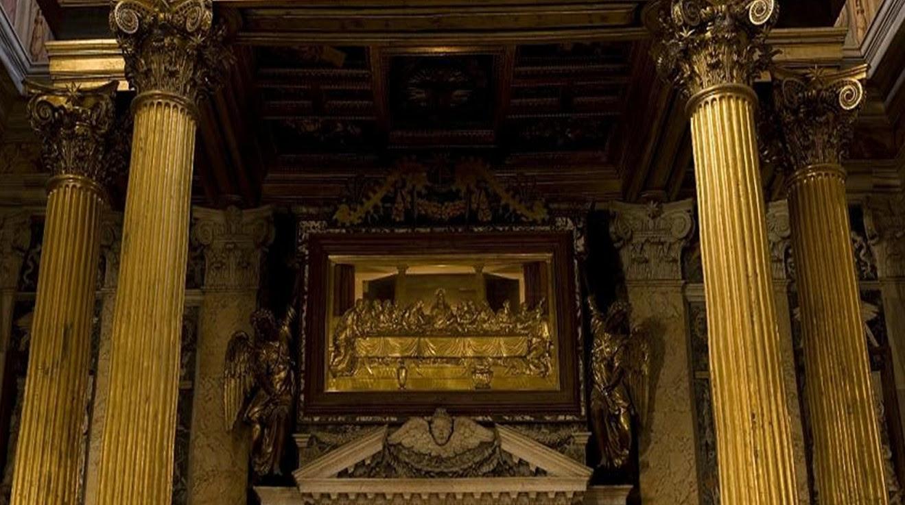 Mesa de la Última Cena venerada en la Basílica de San Juan de Letrán, Roma (Italia).