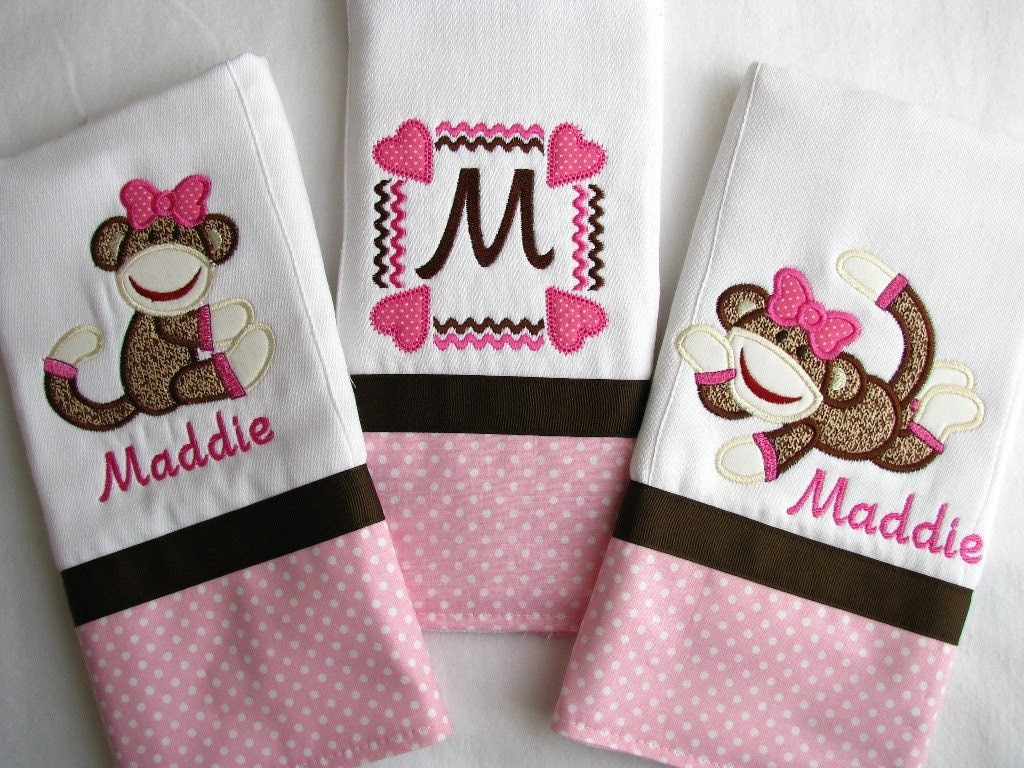 Boutique Style SOCK MONKEY Burp Cloths - Personalized Burp Cloths - Appliqued - Embroidered - Monogrammed - Pink and Brown