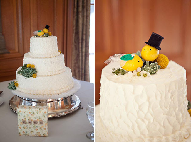wedding cake with lemons on top