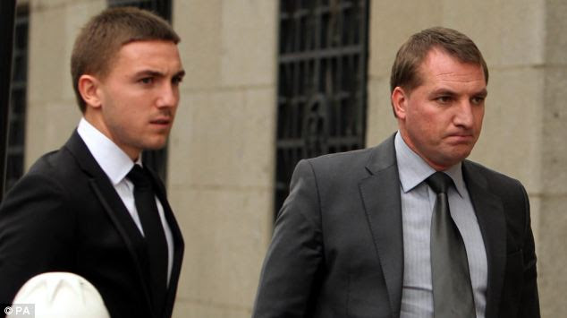 Arrival: Brendan Rodgers arriving at the Old Bailey with his son Anton Rodgers, who has been accused of sexual assault along with three other footballers