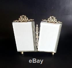 French Antique Brass Beveled Glass Double Photo Frame Nap Iii