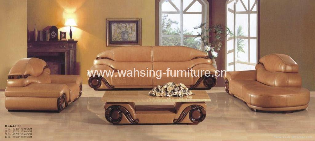 Antique royal solid wood furniture leather sofa set living room