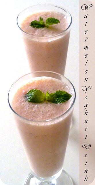 Watermelon yoghurt drink