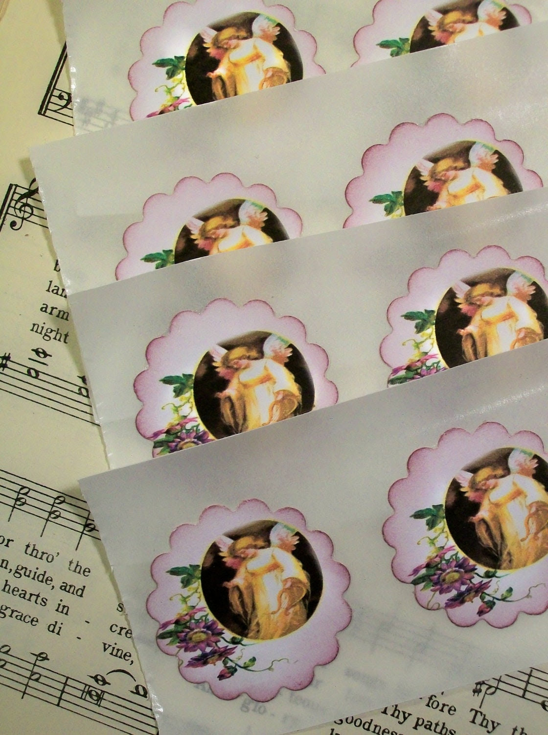 Stickers Angels and Daisies Religious Envelope Seals Vintage Inspired Set of 12