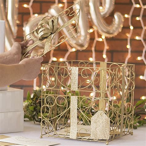 Gold Scrolled Wire Wedding Gift Card Box   My Wedding