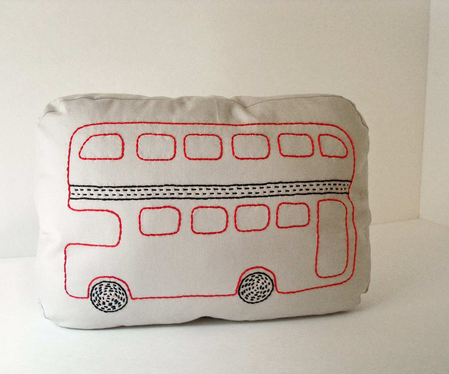 London  Double Decker Bus - Sashiko inspired pillow
