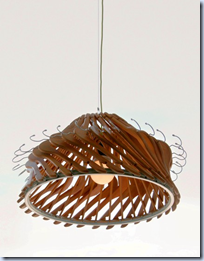 recycled hanger lamp