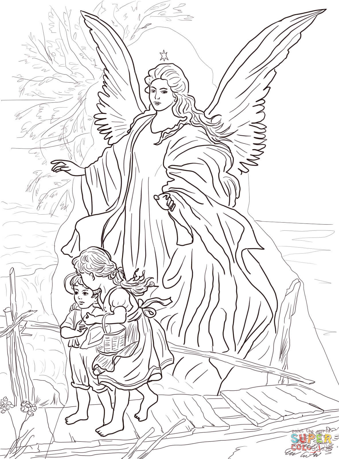 Children Are Protected by Guardian Angel coloring page ...