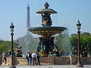 Fontaine de la place de la Concorde, with Eiff...