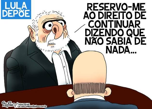 Resultado de imagem para CHARGE SOBRE DEPOIMENTO DE LULA