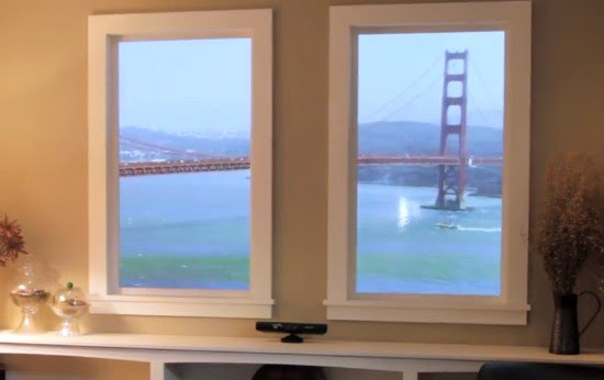 Winscape virtual window leaps to Kinect, jumps to 4K footage and 6 screens video