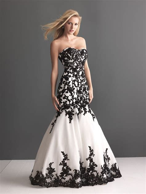 Black and white lace applique wedding dress   Wedding
