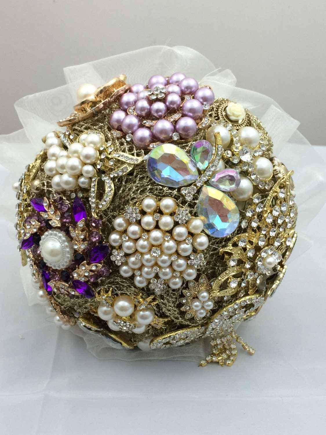 Gold and Purple Brooch bouquet 9 inch