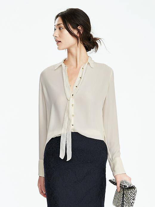 Banana Republic Womens Long Sleeve Crepe Tie Neck Blouse