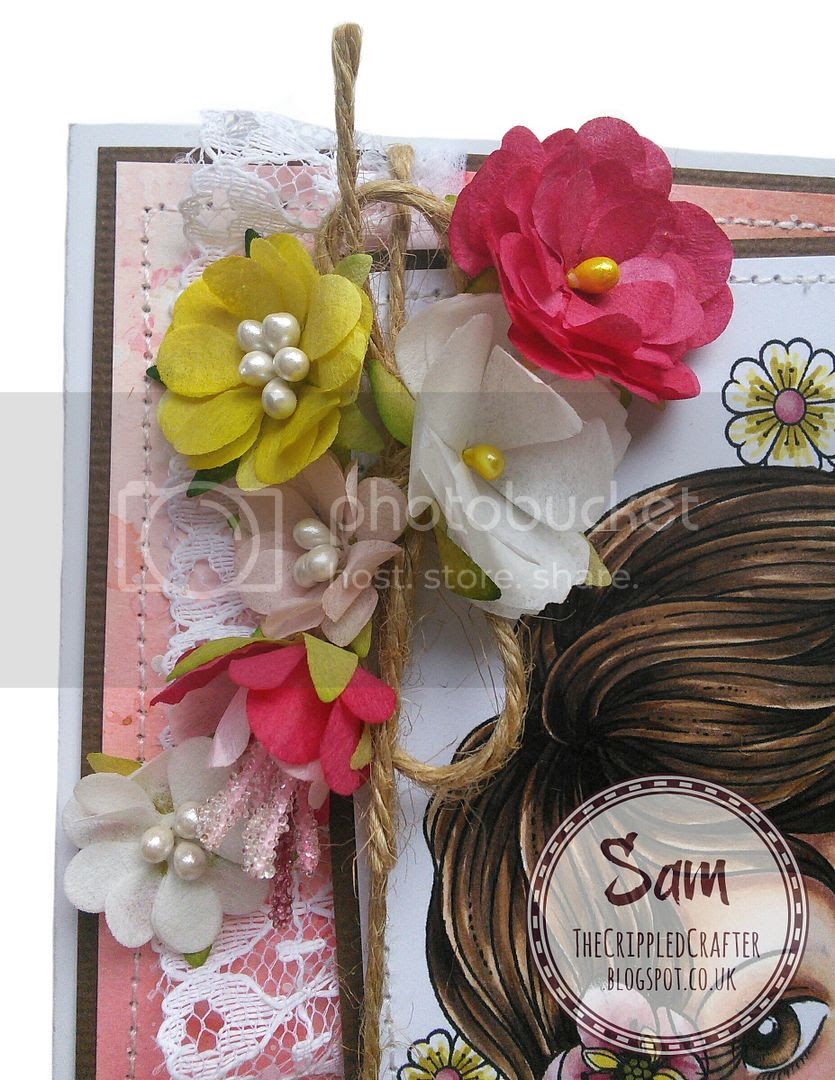"Card featuring Petal Lu Blooms.  Digital Image ""Leilani"" by Connie Fong Art & Design.  Made by The Crippled Crafter."