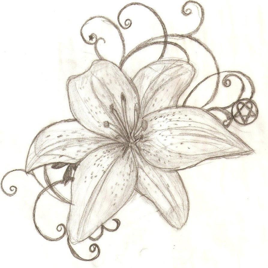 Tiger Lily Flower Tattoo Design