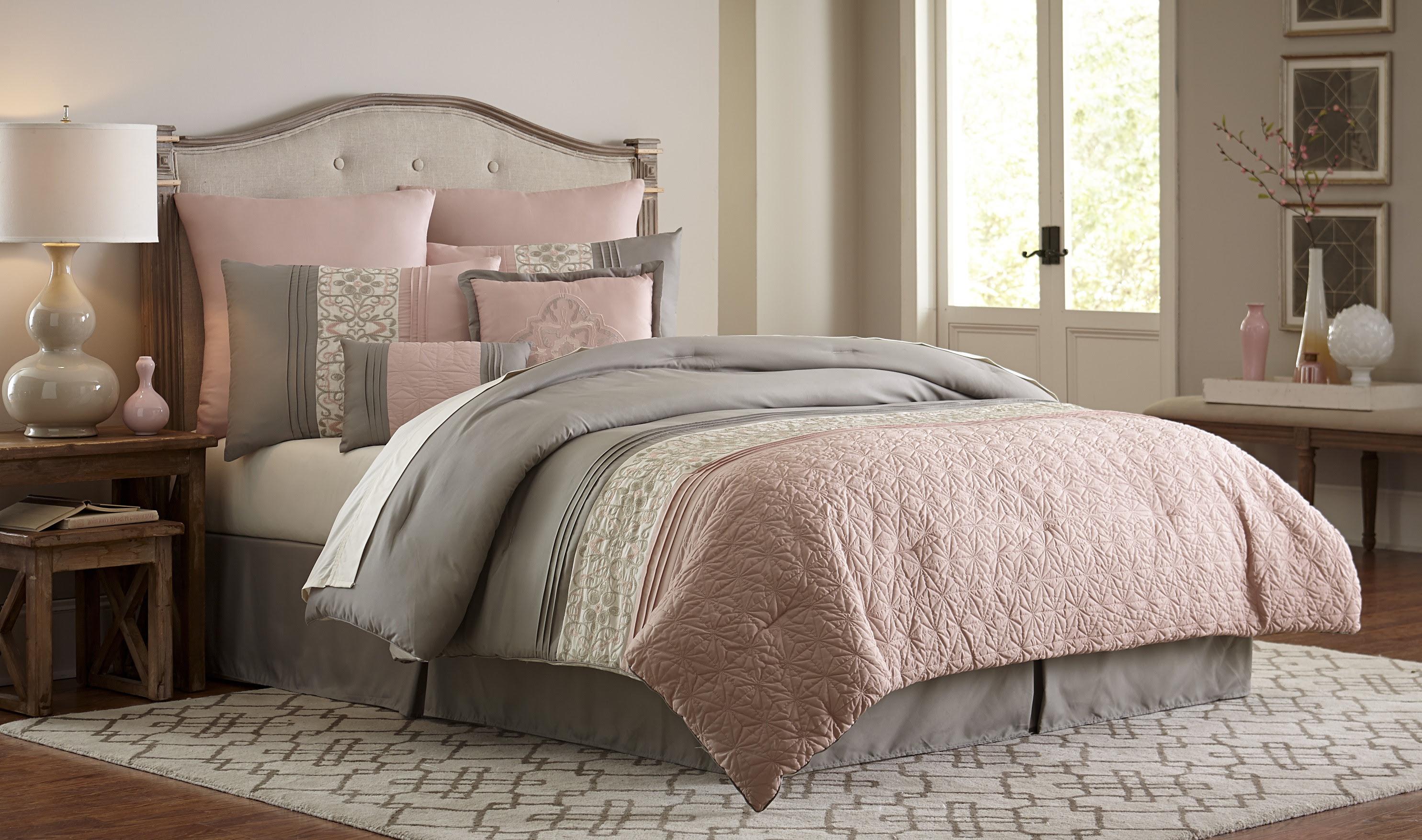 Essential Home 8-Piece Comforter Set - Blush Clover - Home ...