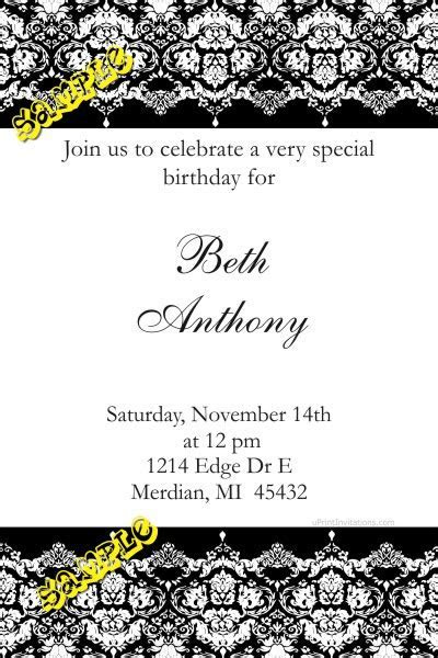 Damask Birthday Invitations ALL COLORS