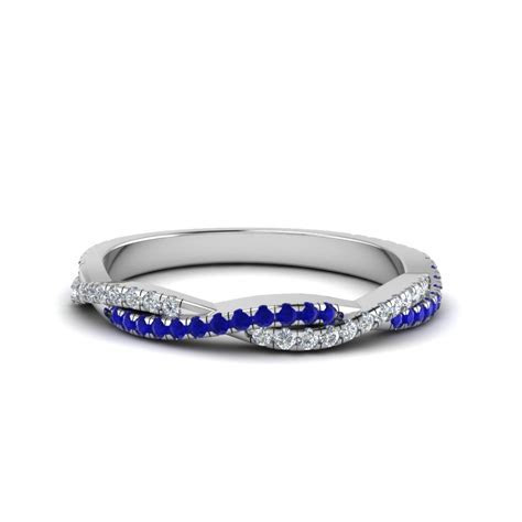 Twisted Vine Diamond Wedding Band With Sapphire In 950