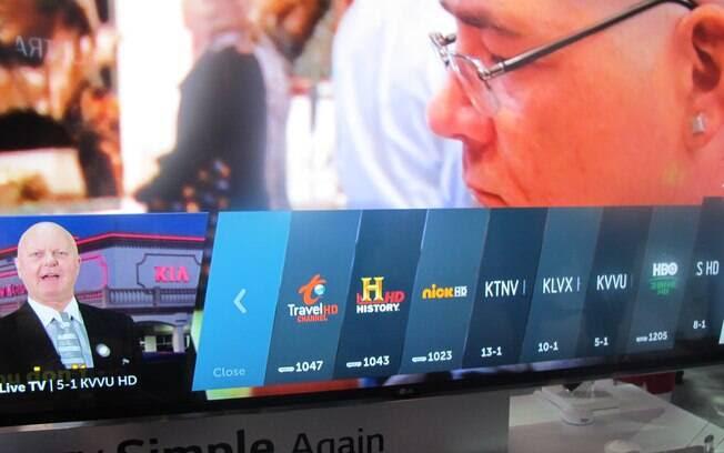 Mais rápido, webOS 2.0, sistema da LG, ganhou atalho para os canais favoritos do usuário, entre outras novidades. Foto: Emily Canto Nunes/iG