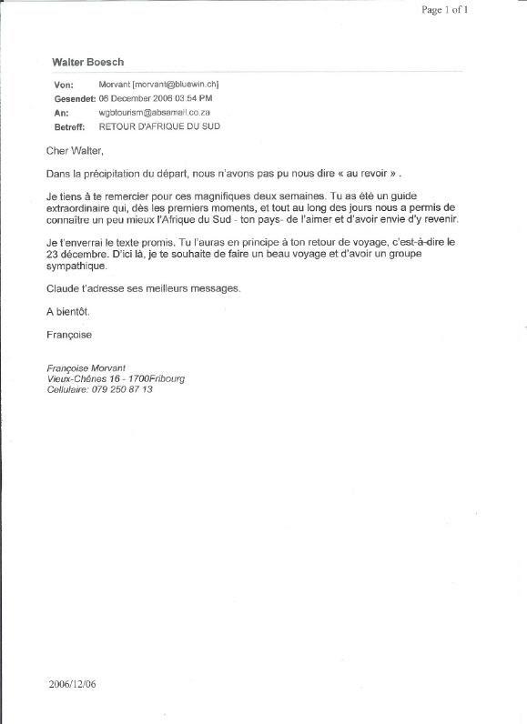 exemple de lettre de remerciement pour recommandation