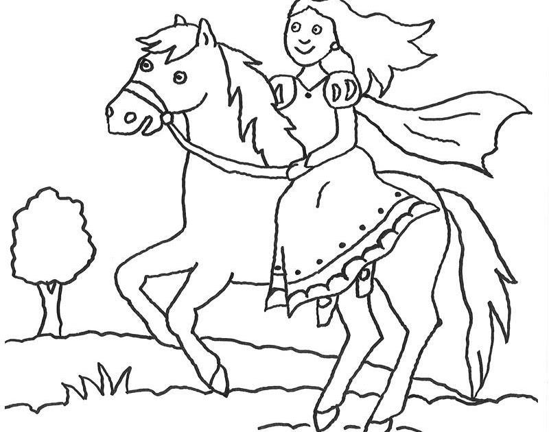 ausmalbilder prinzessin pferd