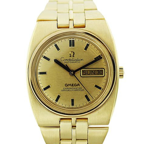 yellow gold omega constellation day date mens