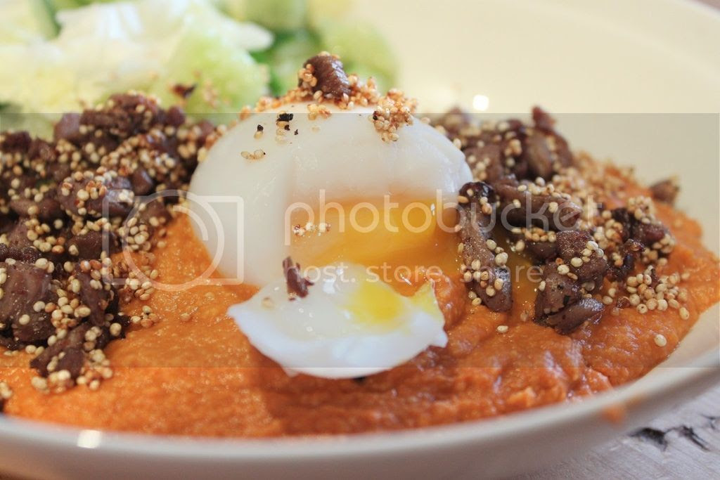 Experimenting with Produce - Smoked Capsicum Hummus with Toasted Lamb, Quinoa and a Poached Duck Egg