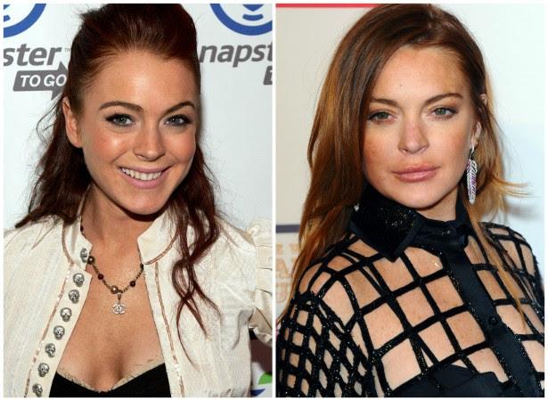 Lindsay Lohan em março de 2005 (à esq.) e em fevereiro de 2015. (Foto: Getty Images)