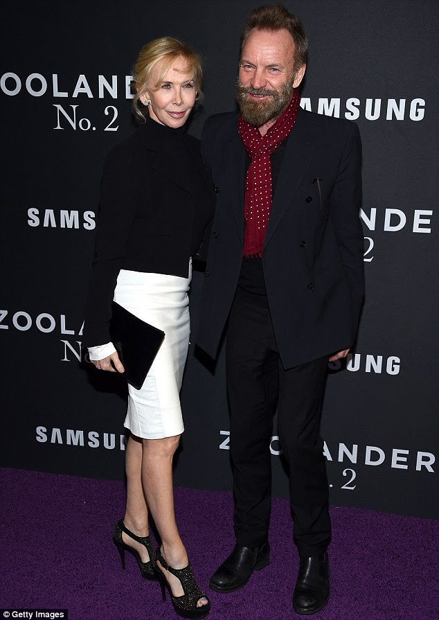 Making it a date night! Music legend Sting looked cheerful as he arrived with wife Trudie Styler